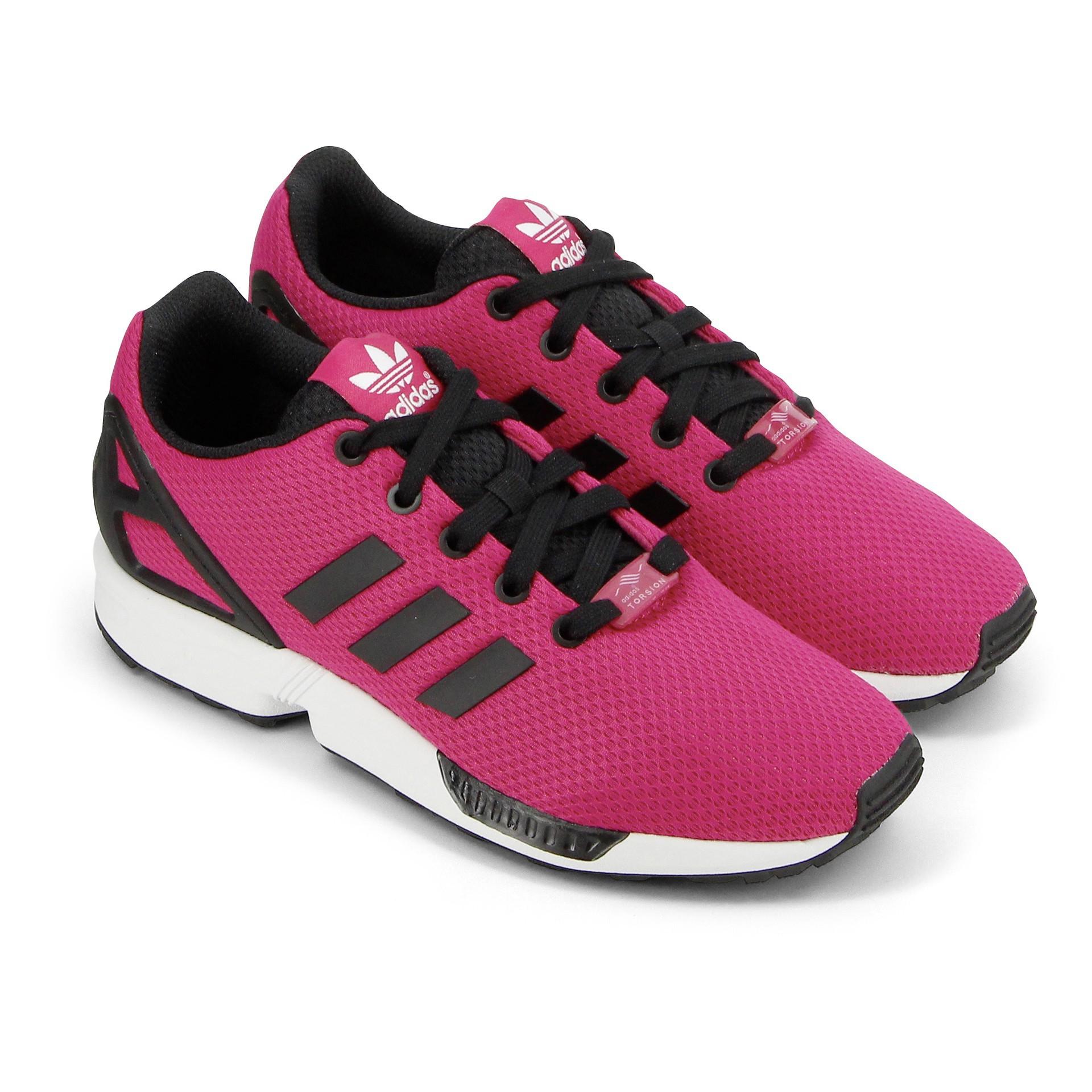 basket adidas zx flux rose et noir
